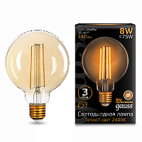Изображение Лампа Gauss LED Filament G95 E27 8W Amber 740lm 2400К 1/20